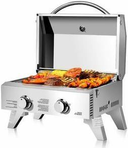 20000BTU Propane Tabletop Gas Grill Stainless Steel 2 Burner