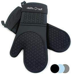 Black Silicone Oven Hot Mitts - 1 Pair of Extra Long Profess