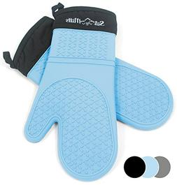 Blue Silicone Oven Hot Mitts - 1 Pair of Extra Long Professi