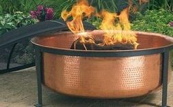 HAMMERED COPPER FIRE PIT Grill Set w/ Cover Outdoor BBQ Pati