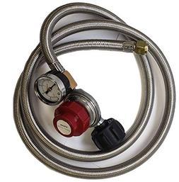 Adjustable Propane Regulator 0-30PSI High Pressure 5 FEET SS
