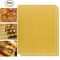 Chilly BBQ Grill Mat, Grill Pads, Set of 3 Non-stick Grill M