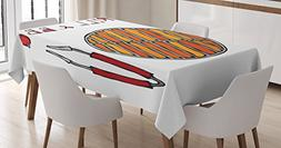 Lunarable BBQ Party Tablecloth, Grill and BBQ Illustration w