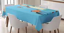 Lunarable BBQ Party Tablecloth, Cheerful Man Cooking Steak o