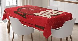 Lunarable BBQ Party Tablecloth, Lets Get Ready to BBQ Typogr