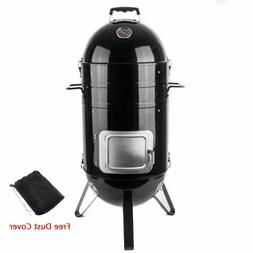 Sougem Charcoal Smoker Grill 14-inch Vertical Combo Water Sm