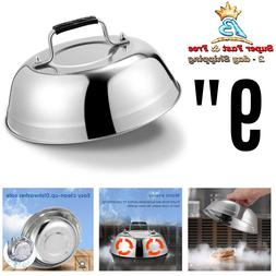 Cheese Melting Dome Stainless Steel Griddle Grill Round Bast