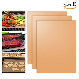 SHINE HAI Copper Grill Mat Set of 3, 100% Non-Stick BBQ Gril