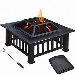 """Topeakmart 32"""" Square Metal Fire Pit Outdoor/Camp/Backyard/P"""