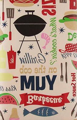 Grillin' On The Cob Yum BBQ Vinyl Flannel Back Tablecloth