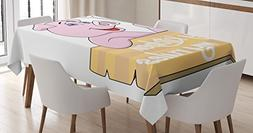 Kitchen Decor Tablecloth by Ambesonne, Pig Chef Holding BBQ