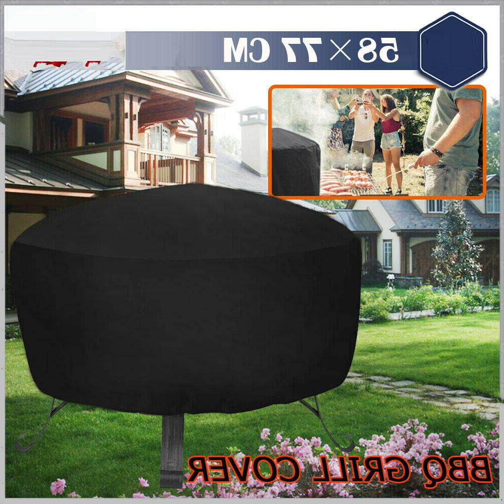 Patio Round Fire Pit Cover Protector Grill Cover Black