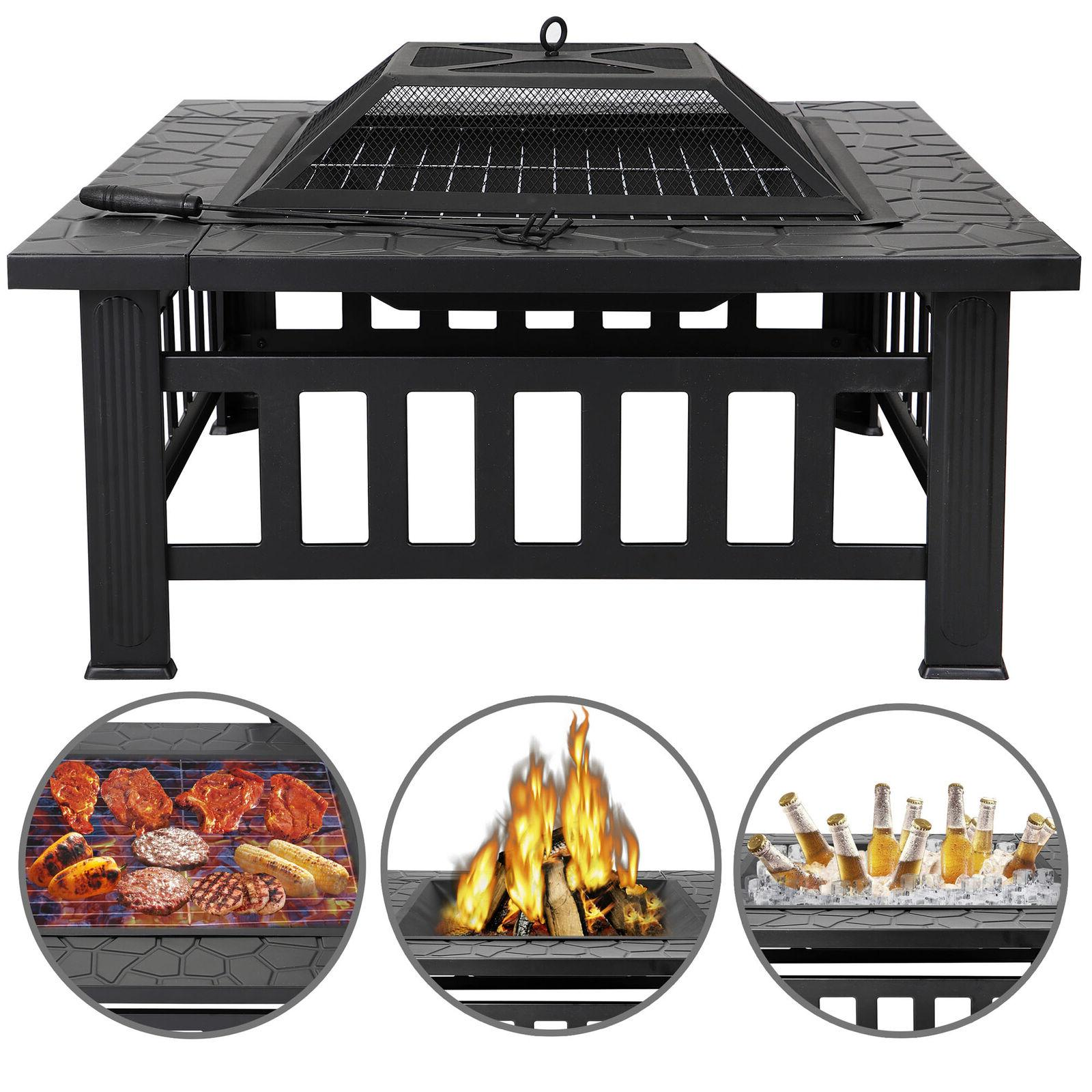 """32"""" Square Fire Pit Outdoor Patio Metal Heater Deck Backyard"""