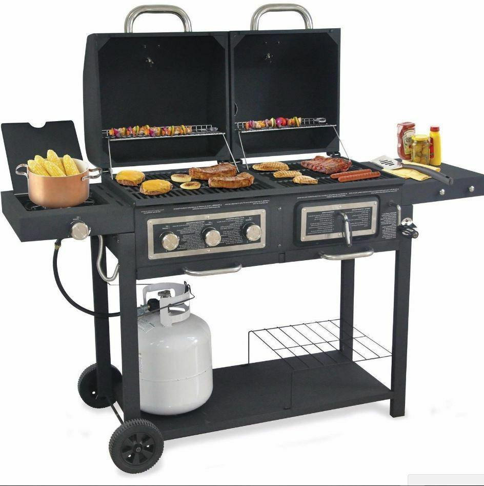 Gas Combo Grill Charcoal Hybrid Outdoor Cooking BBQ