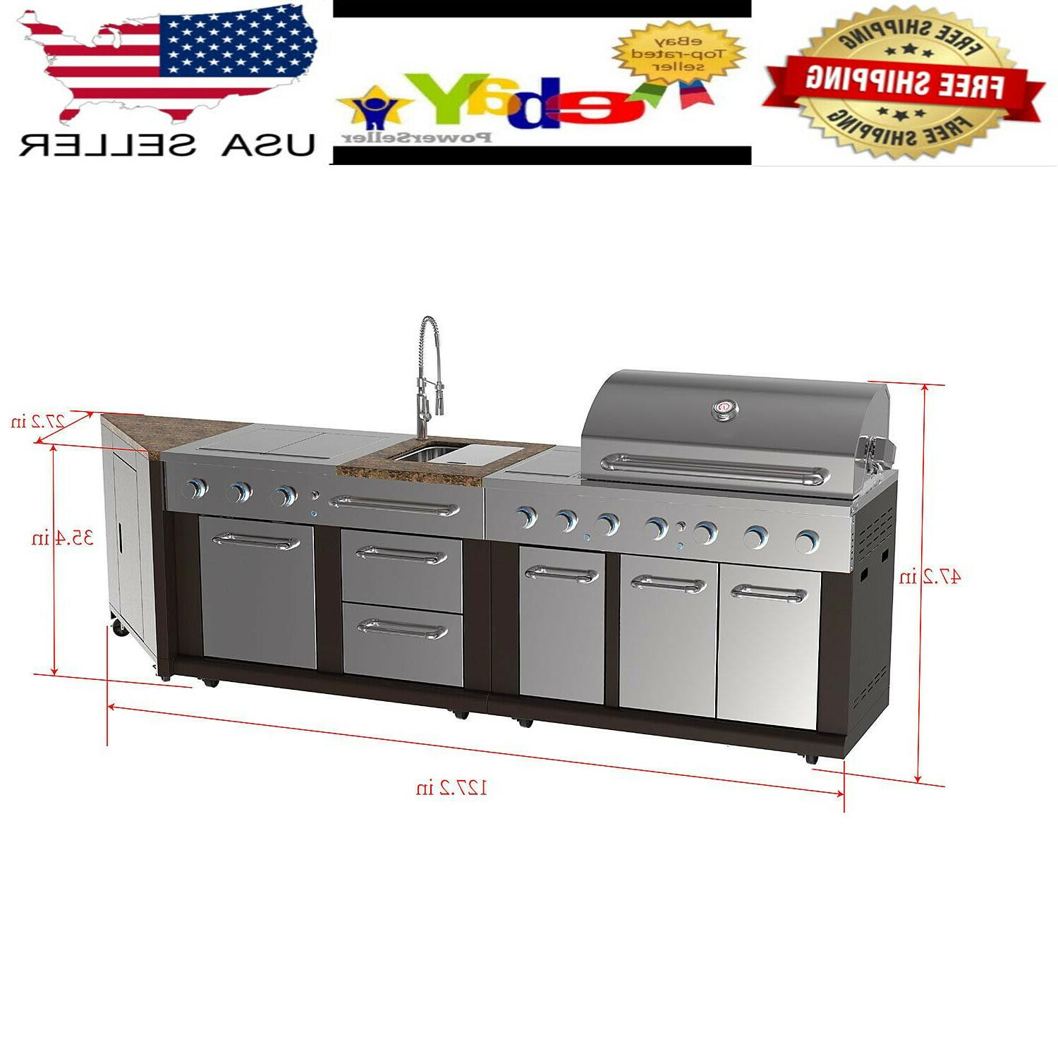 New 5 Burner Propane Gas BBQ Grill LP Stainless Steel Porcel