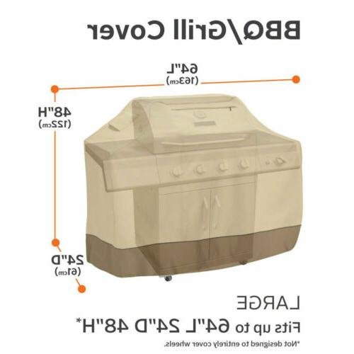 "64"" Gas Grill Cover Heavy Beige Barbecue Waterproof Outdoor Weber"