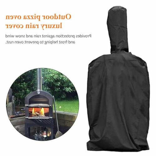 Heavy-Duty  BBQ Grill Cover Chimney Pizza Oven Black Durable