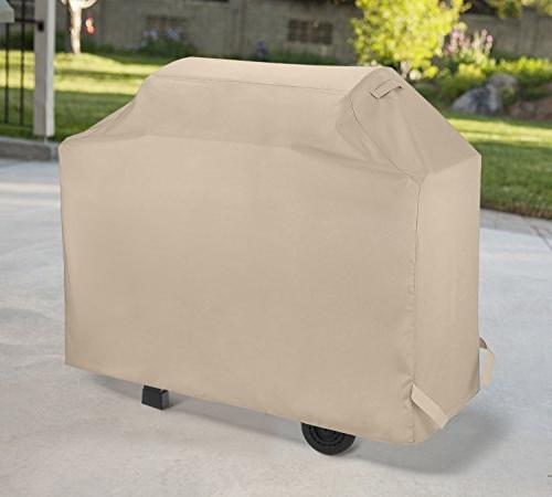 SunPatio 58 Inch, Duty Waterproof Cover, Smoker Cover, Weather Protection for Grills and More, Beige