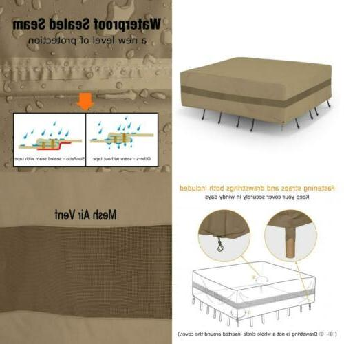 Outdoor Table & Chair Cover Patio Furniture Set Cover w/ Wat