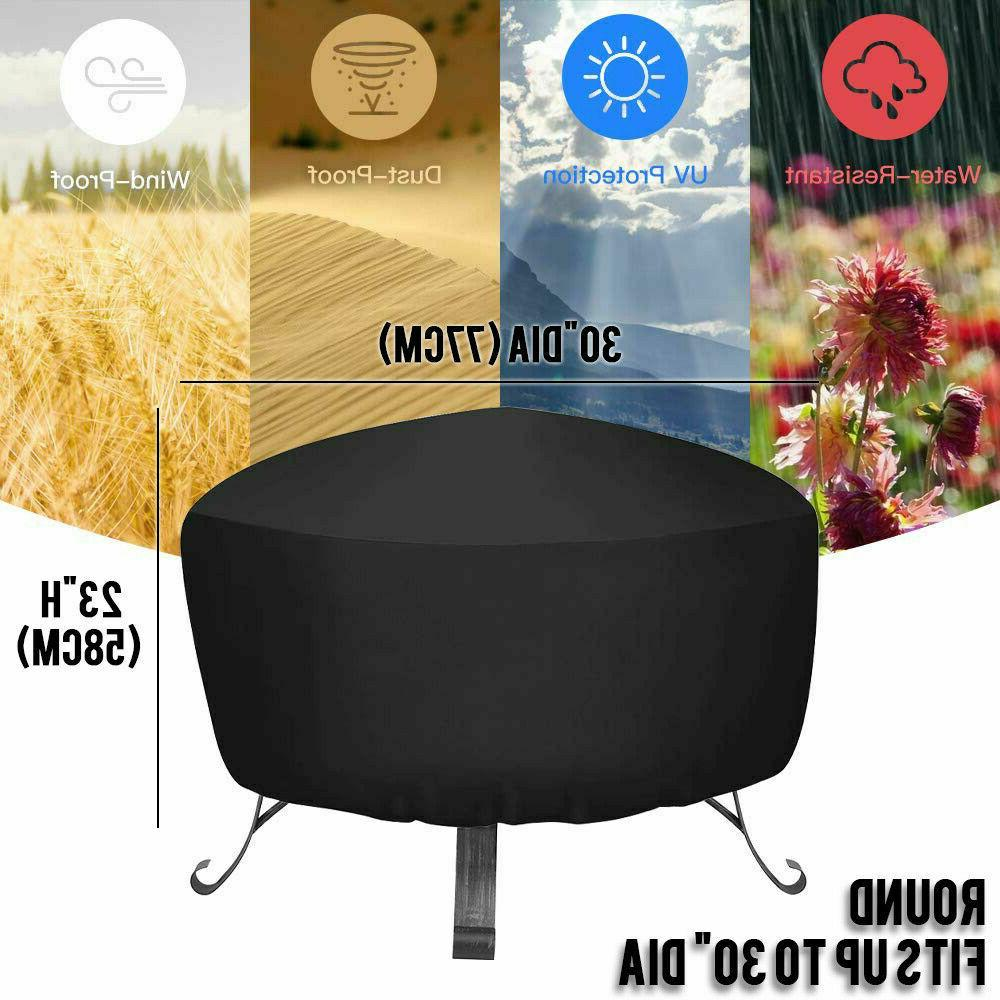 Patio Round Fire Cover Waterproof UV Protector Grill BBQ Black