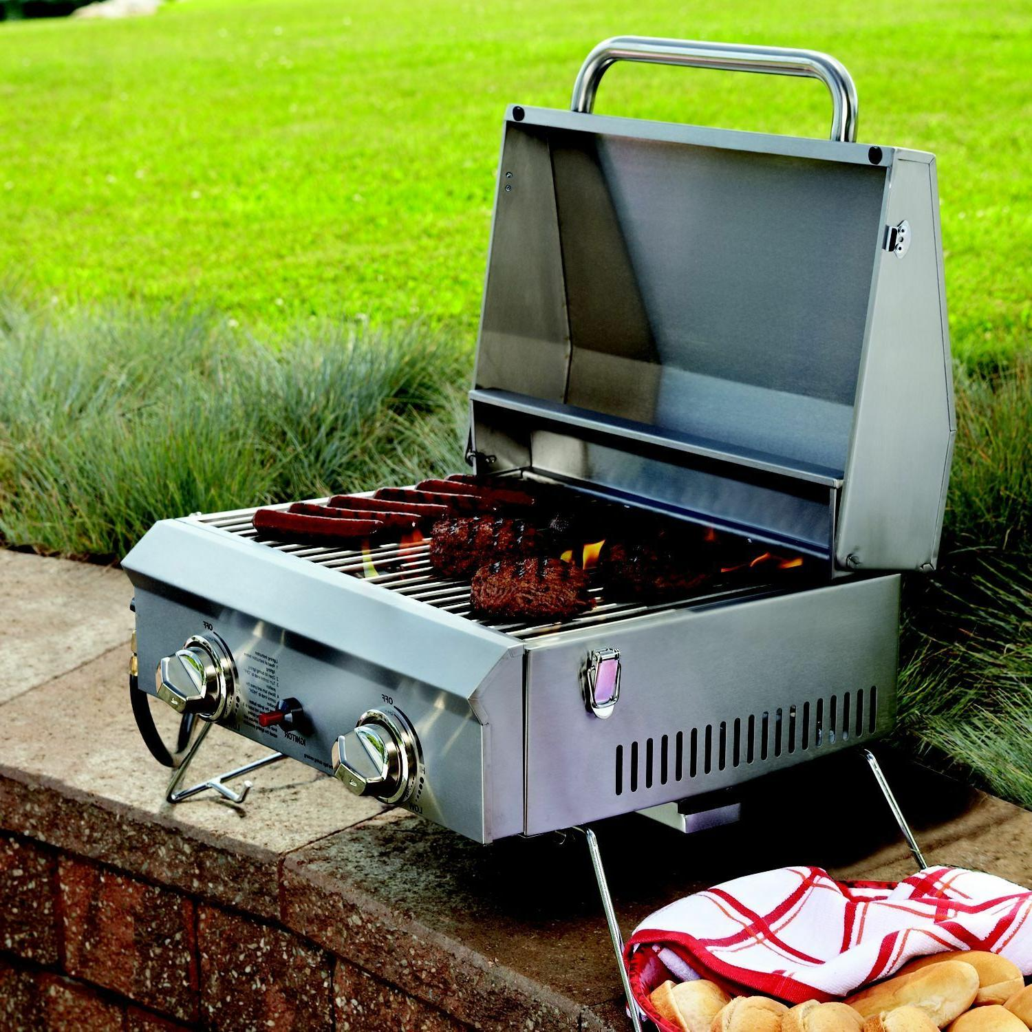 OUTDOOR PORTABLE STAINLESS STEEL 2 BURNERS GAS BBQ