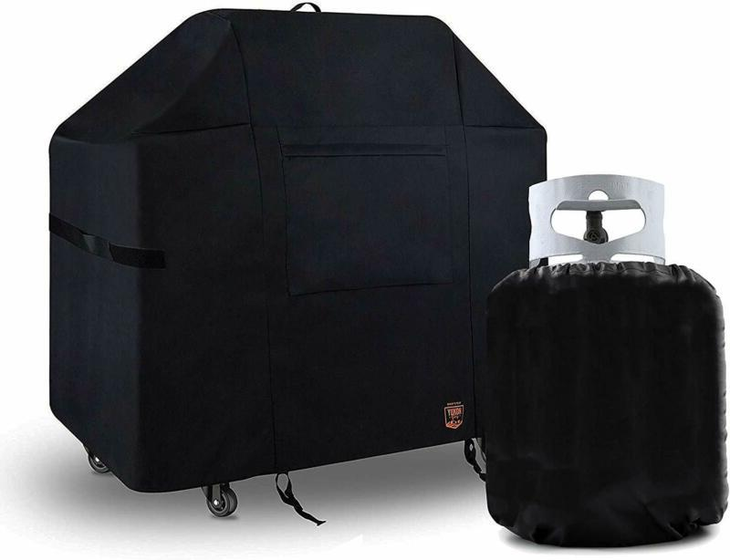 """58"""" BBQ Grill Cover For Weber Genesis II 300 Series With Tan"""