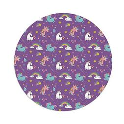 iPrint Polyester Round Tablecloth,Magical,Unicorn and Rainbo