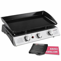 Portable 3-Burner Propane Stainless Steel Gas Flat Top Grill