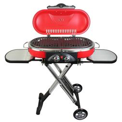PORTABLE BBQ GRILL PROPANE RED FOLDABLE CART FOR CAMPING OUT