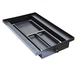 powder coated steel fireplace box pan with dual flame h burn
