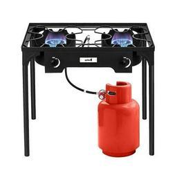 Propane 150000 BTU Double 2 Burner Gas Cooker Stand Stove Ou