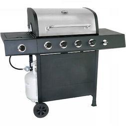 Stainless Steel Black 4-Burner LP Gas Grill Side Burner Outd