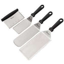 Stainless Steel Metal Spatula Set - Griddle Scraper Flat Spa