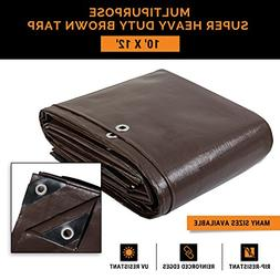 10' x 12' Super Heavy Duty 16 Mil Brown Poly Tarp Cover - Th