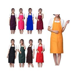LOYHUANG Total 9PCS Plain Color Bib Apron Adult Women Unisex
