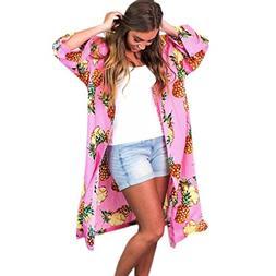 Anxinke Womens Pineapple Printed Kimono Cardigan Open Front